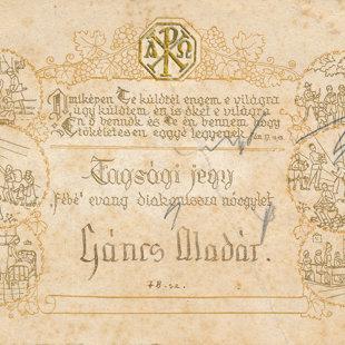 Gáncs Aladár Fébé tagkártyája